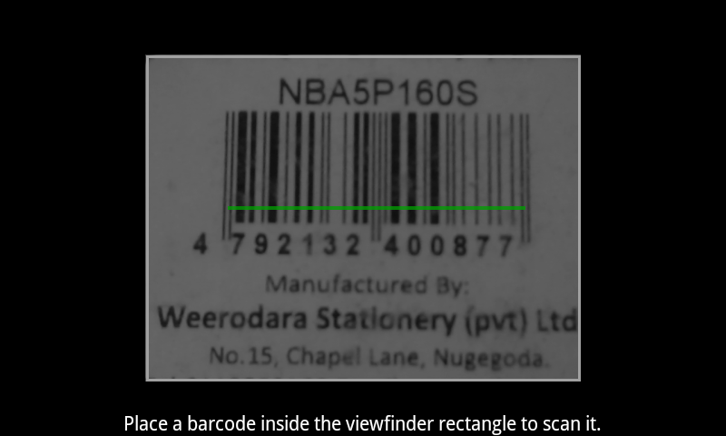 Barcode/QRcode Scanner using 'android-zxinglib' library project (5/5)