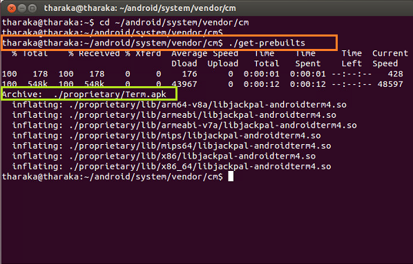 Build CyanogenMod: 2. Get-prebuilts requires while building (2/5)